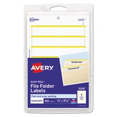 Permanent File Folder Labels, 11/16 x 3 7/16, White/Yellow Bar, 252/Pack
