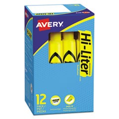 HI-LITER Desk-Style Highlighters, Chisel Tip, Yellow, Dozen