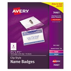 Badge Holder Kit w/Laser/Inkjet Insert, Top Load, 2 1/4 x 3 1/2, White, 100/Box