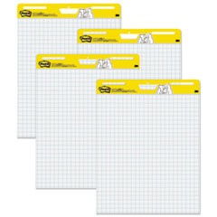 Self Stick Easel Pads, Quadrille, 25 x 30, White, 30 Sheets, 4 Pads/Carton