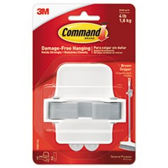 Command Broom Gripper, 3.12W X 2.43D X 3.34H, White/Gray, 1 Gripper & 2 Strips