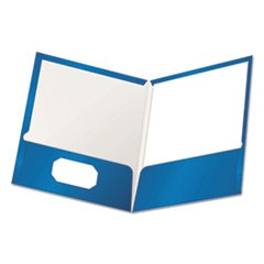 High Gloss Laminated Paperboard Folder, 100-Sheet Capacity, Blue, 25/Box