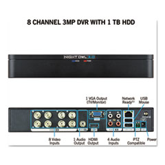 8 Channel Extreme HD 3MP DVR with 1 TB Hard Drive, 1080p Resolution