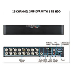 16 Channel Extreme HD 3MP DVR with 1 TB Hard Drive, 1080p Resolution