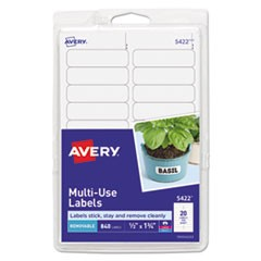 Removable Multi-Use Labels, Inkjet/Laser Printers, 0.5 x 1.75, White, 20/Sheet, 42 Sheets/Pack