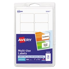 Removable Multi-Use Labels, Inkjet/Laser Printers, 1 x 1.5, White, 10/Sheet, 50 Sheets/Pack