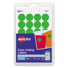 "Printable Self-Adhesive Removable Color-Coding Labels, 0.75"" dia., Green, 24/Sheet, 42 Sheets/Pack"