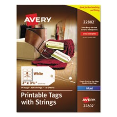 Printable Rectangular Tags with Strings, 2 x 3 1/2, Matte White, 96/Pack