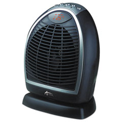 "Digital Fan-Forced Oscillating Heater, 1500W, 9 1/4"" x 7"" x 11 3/4"", Black"