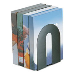 "Heavy Duty Bookends, Nonskid, 8"" x 8"" x 10"", Steel, Black"