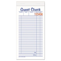 Guest Check Unit Set, Carbonless Duplicate, 6 7/8 x 3 3/8, 50 Forms, 10/Pack