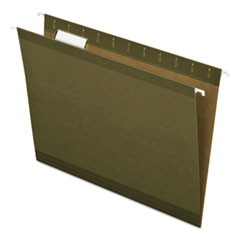 Reinforced Hanging File Folders, Letter Size, 1/5-Cut Tab, Standard Green, 25/Box