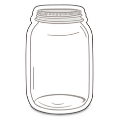 "Single Design Cut-Outs, Mason Jars, White/Gray, 3"" x 3"", 36/Pack"