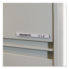 "HOL-DEX Magnetic Shelf/Bin Label Holders, Side Load, 1/2"" x 6"", Clear, 10/Box"