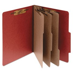 Pressboard Classification Folders, 3 Dividers, Letter Size, Earth Red, 10/Box