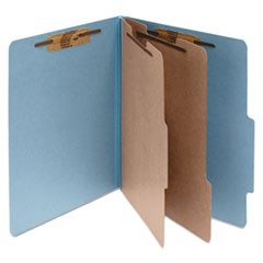 Pressboard Classification Folders, 2 Dividers, Legal Size, Sky Blue, 10/Box