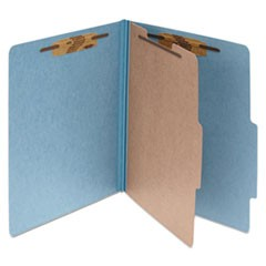 Pressboard 25-Pt Classification Folders, Letter, 4-Section, Sky Blue, 10/Box