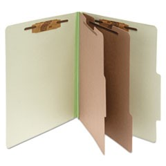 Pressboard Classification Folders, 2 Dividers, Legal Size, Leaf Green, 10/Box