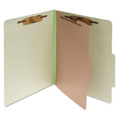 Pressboard 25-Pt Classification Folders, Letter, 4-Section, Leaf Green, 10/Box