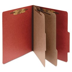 Pressboard 25-Pt Classification Folders, Legal, 6-Section, Earth Red, 10/Box