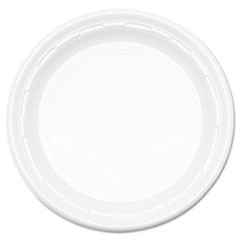 "Famous Service Plastic Dinnerware, Plate, 9"", White, 125/Pack, 4 Packs/Carton"