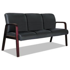 Alera Reception Lounge WL 3-Seat Sofa, 65.75 x 26 1/8 x 33, Black/Mahogany
