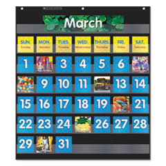 "Monthly Calendar Pocket Chart, 43 Pockets, 25"" x 27.75"", Black"