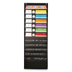 Deluxe Scheduling Pocket Chart, 12 Pockets, 13w x 36h, Black