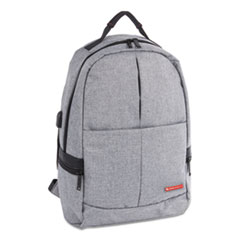 "Sterling Slim Business Backpack, Holds Laptops 15.6"", 5.5"" x 5.5"" x 18"", Gray"