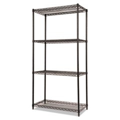 Wire Shelving Starter Kit, Four-Shelf, 36w x 18d x 72h, Black
