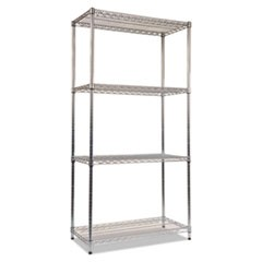 Wire Shelving Starter Kit, Four-Shelf, 36w x 18d x 72h, Silver