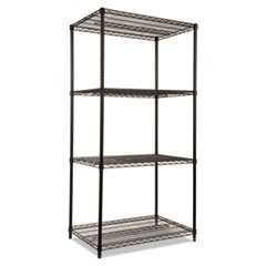 Wire Shelving Starter Kit, Four-Shelf, 36w x 24d x 72h, Black