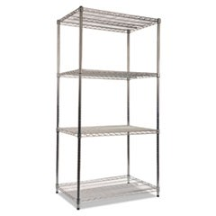 Wire Shelving Starter Kit, Four-Shelf, 36w x 24d x 72h, Silver