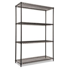 Wire Shelving Starter Kit, Four-Shelf, 48w x 18d x 72h, Black