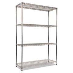 Wire Shelving Starter Kit, Four-Shelf, 48w x 18d x 72h, Silver