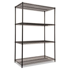 Wire Shelving Starter Kit, Four-Shelf, 48w x 24d x 72h, Black