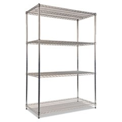 Wire Shelving Starter Kit, Four-Shelf, 48w x 24d x 72h, Silver