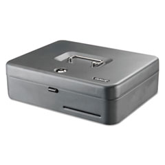 "Tiered Cash Box with Bill Weights, 2 Keys, 9.84"" x 9.84"" x 11.81"", Steel, Gray"