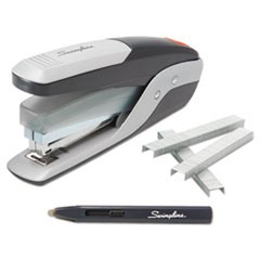 QuickTouch Reduced Effort Full Strip Stapler Value Pack, 28-Sheet Cap, BK/SR