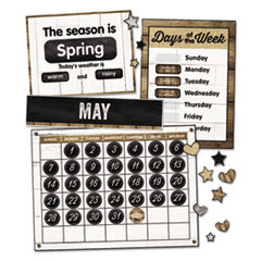 "Calendar Bulletin Board Sets, Industrial Chic, Brown/White/Black, 23"" x 17"""