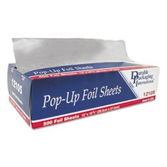 "Pop-Up Aluminum Foil Sheets, 12"" x 10 3/4"", 500/Box, 6 Boxes/Carton"