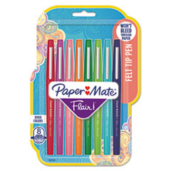 Flair Felt Tip Stick Porous Point Marker Pen, 0.7mm, Assorted Ink/Barrel, 8/Pack