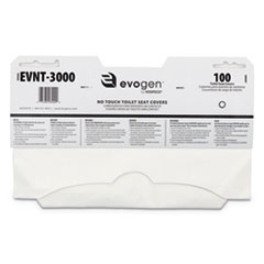 "Evogen No Touch Toilet Seat Covers, 15 1/2"" x 9 1/4"", White, 3000/Carton"