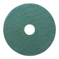 "Heavy-Duty Scrubbing Floor Pads, 13"" Diameter, Green, 5/Carton"