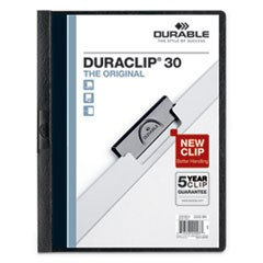 Vinyl DuraClip Report Cover w/Clip, Letter, Holds 30 Pages, Clear/Black, 25/Box