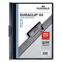 Vinyl DuraClip Report Cover w/Clip, Letter, Holds 60 Pages, Clear/Black, 25/Box