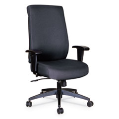 Alera Wrigley Series High Performance High-Back Synchro-Tilt Task Chair, Up to 275 lbs., Black Seat/Back, Black Base
