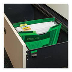 "Expanding File with Hanging Tabs, 3/4"" Expansion, 7 Sections, Letter, Green"