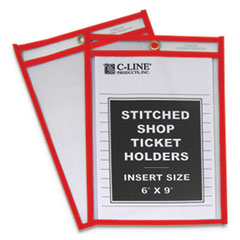 "Stitched Shop Ticket Holders, Top Load, Super Heavy, 6"" x 9"" Inserts, 25/Box"