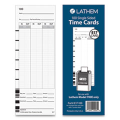 "E17-100 Time Card, Bi-Weekly/Monthly/Semi-Monthly/Weekly, One Side, 9"", 100/Pack"